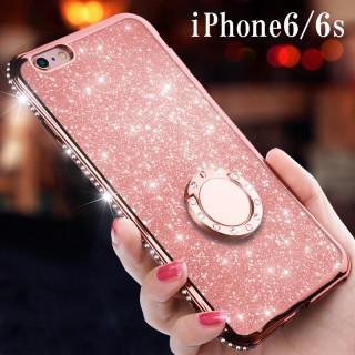 キラキラ【iPhone6/6s対応】スマホリング付ケース クリアケース(iPhoneケース)