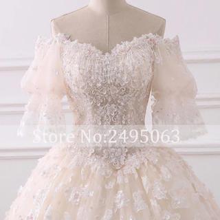 プリンセス スリーブ ウェディングドレス