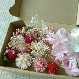 プリザとドライフラワーの花材セット  ピンクホワイト⑦