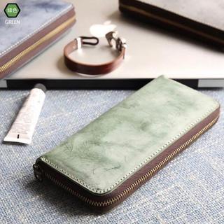 【ブライドルレザー】緑 グリーン レザー 本格 長財布 メンズ 新品 送料無料(長財布)