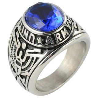 【24号】【ブルー】U.S.ARMYリング 指輪 メンズ カレッジリング(リング(指輪))
