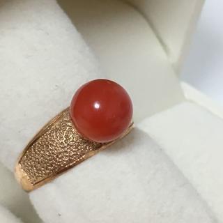K18 珊瑚 サンゴ 8.1mm デザイン リング 指輪 (リング(指輪))