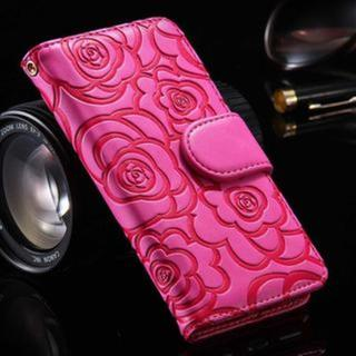 iPhone5 iPhone5s iPhoneSE ピンク バラ手帳型ケース(iPhoneケース)
