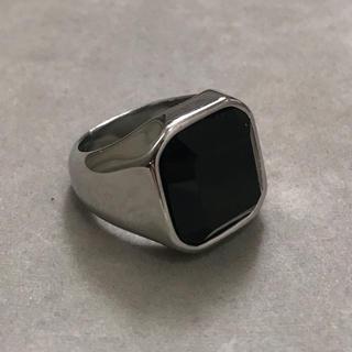 STAINLESS STEEL製 ブラックオニキスカレッジリング  シルバー(リング(指輪))