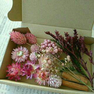 ドライフラワーの花材セット  シックピンク系11