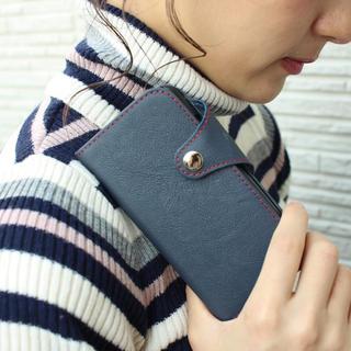 iPhone7 iPhone8 本革 手帳型ケース ネイビー紺色 スマホケース(iPhoneケース)