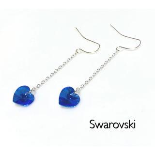 SWAROVSKI - ゆらゆら スワロフスキーピアスorイヤリング♡サファイヤオーロラハート