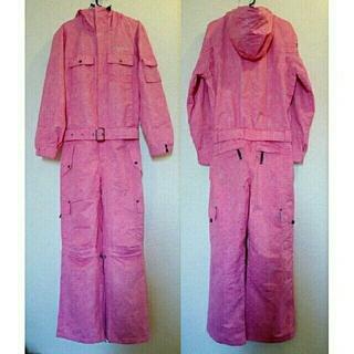可愛いピンクのスノボウェア 9号 つなぎ レディース ワンピース(ウエア/装備)