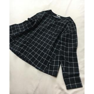 ジーユー(GU)のGU プルオーバー 140cm チェック トレーナー  黒(Tシャツ/カットソー)