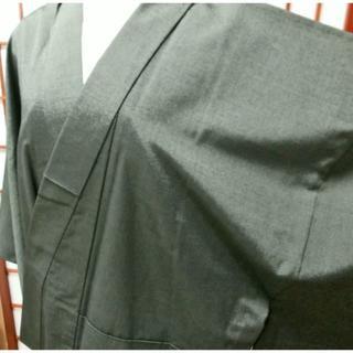 男物ウール着物L寸/織物きもの和服(無地・濃緑色)(着物)