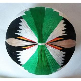 絹てまり「巻き鶴」白、緑 手まり 手毬 手鞠(その他)