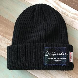 シマムラ(しまむら)のしまむらハリスツィード コラボ 黒グレーニット帽(ニット帽/ビーニー)