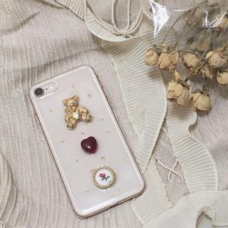 〈ハンドメイド〉くま×薔薇iPhoneケース(スマホケース)