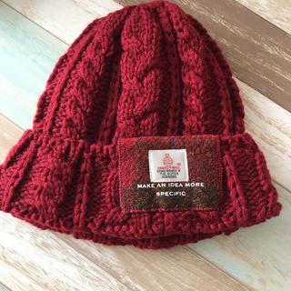 シマムラ(しまむら)のしまむらハリスツィード コラボ 赤ニット帽(ニット帽/ビーニー)
