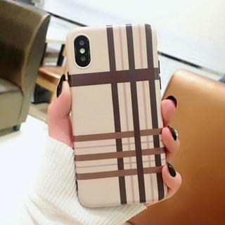 チェック チョコレート ブラウン iPhoneXS 他機種有り(iPhoneケース)