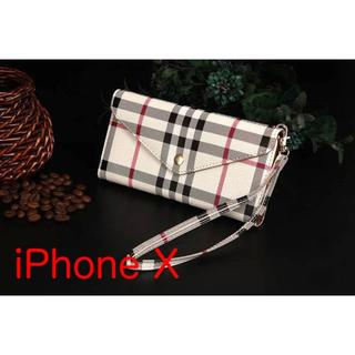手帳型iPhoneケース ストラップ&カード収納つき チェック レザー調(iPhoneケース)