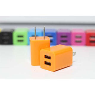 iPhone Android USB コンセント 2口充電  充電器 オレンジ(バッテリー/充電器)