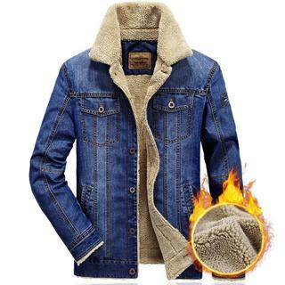 新入荷 中ボア メンズ デニムジャケット 暖かい かっこいい ブルー(Gジャン/デニムジャケット)