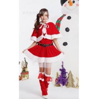 猫耳フード サンタ ミニスカ ワンピース レディース コスプレ衣装 フリーサイズ