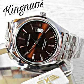 KINGNOUS 腕時計 メンズ ウォッチ アンティークブラウン シルバー(腕時計(アナログ))
