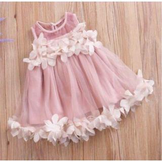 新品♡90cm♡フラワーチュール ベビードレス ピンク(ワンピース)