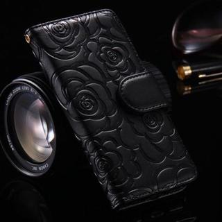 花柄 カメリア 手帳型ケース iPhoneX iPhoneXS ブラック (iPhoneケース)