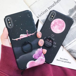 ピンクジェット 飛行機 iPhoneケース バンカーリング付き (iPhoneケース)