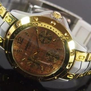 メンズ腕時計 メタルウォッチクロノデザインコンビ×オレンジ ws_004(腕時計(アナログ))