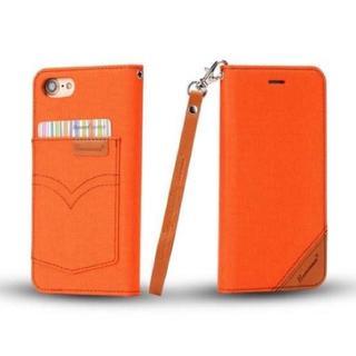 お洒落 iPhone7 iPhone8 オレンジ デニム♪ 手帳型ケース(iPhoneケース)
