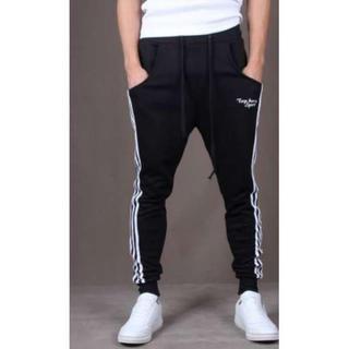 人気 ジョガーパンツ スウェット メンズ レディース ラインパンツ 黒 XL(サルエルパンツ)