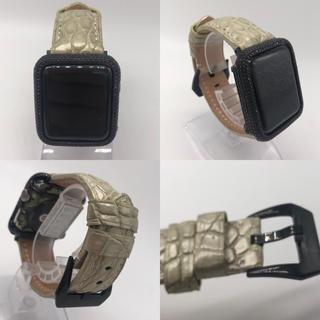アップルウォッチ(Apple Watch)の本物アリゲーターアップルウォッチ用ベルト 42mm44mmアップルウォッチ4(レザーベルト)