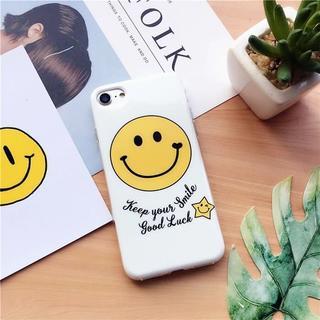 ホワイト iPhone6 iPhone6s スマイル ニコちゃん ソフトケース(iPhoneケース)