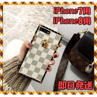 iPhone7/8用 トランク型 ホワイト ケース カバー  大人気♡(iPhoneケース)