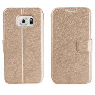 Galaxy S7 edge ゴールド シンプル 薄型 手帳型ケース(Androidケース)