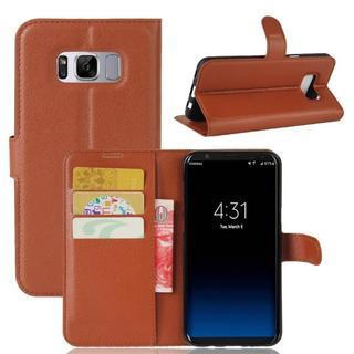 Galaxy s8 ブラウン シンプル 手帳型ケース(Androidケース)