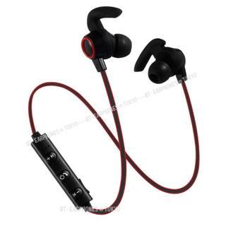 ★レッド Bluetooth ワイヤレス スポーツ イヤホン(ヘッドフォン/イヤフォン)