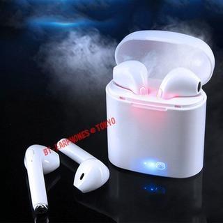 ★ホワイト 完全ワイヤレス Bluetooth イヤホン i7S 充電ケース付き(ヘッドフォン/イヤフォン)