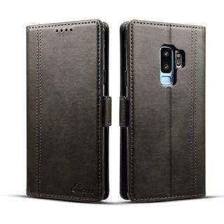 Galaxy s9 お洒落 高品質 PUレザー ブラック 手帳型ケース(Androidケース)
