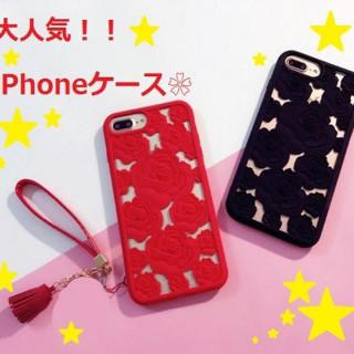 超人気!【iPhoneシリーズのシリコンケース】赤 or 黒 選べます♪(iPhoneケース)