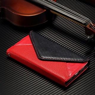 黒と赤の高級感♪ iPhoneケース♪ツートン手帳型 カード収納(iPhoneケース)