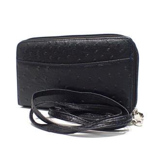 C798 美品 オーストリッチ風 財布 ショルダー ポシェット 合皮(財布)