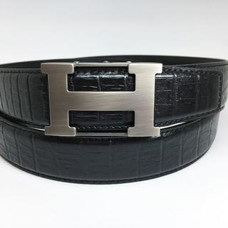 ベルト メンズ Hバックル クロコダイル型押し ブラック ロング 長さ調節可(ベルト)