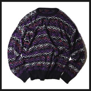 【メンズ古着】個性派・オーバーサイズな幾何学模様の柄ニット(ブラック×パープル)(ニット/セーター)
