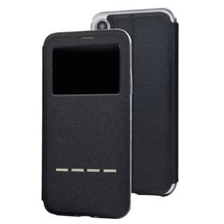 iPhoneX ブラック 小窓 閉じたまま通話可能 ケース(iPhoneケース)