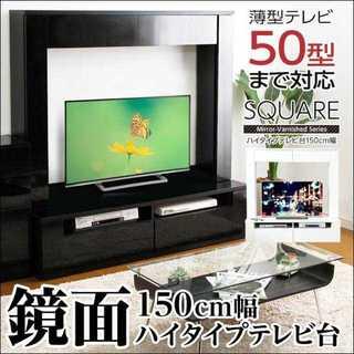 高級感UP!おしゃれな鏡面ハイタイプテレビ台 150cm幅(リビング収納)