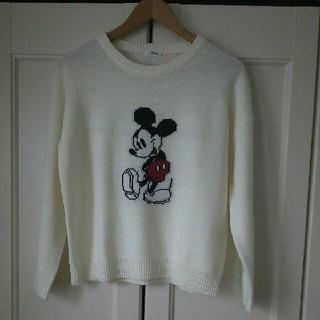 ディズニー(Disney)のミッキーマウス ドロップショルダー セーター★ Lサイズ★白(ニット/セーター)