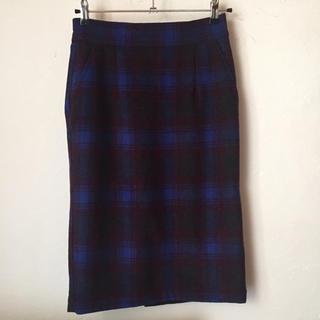 ダブルクローゼット(w closet)の美品 w closet タイトスカート チェック 青 ブルー 緑 ハイウエスト(ひざ丈スカート)