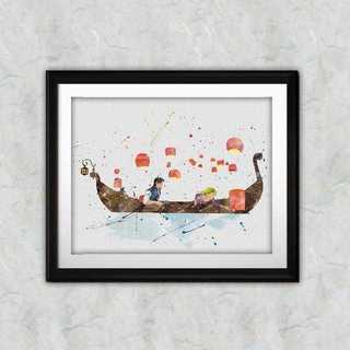 ディズニー(Disney)のラプンツェル&フリンライダー・アートポスター【額縁付き・送料無料!】(ポスター)