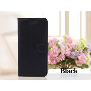 iPhone8 7手帳型ケース レザー 液晶フィルム カード入れ 黒色 ブラック(iPhoneケース)