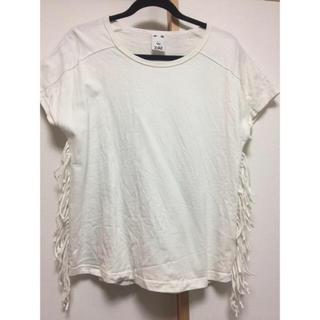 エックスガール(X-girl)のX-girlサイドフリンジTシャツ👚サイズ2(Tシャツ(半袖/袖なし))